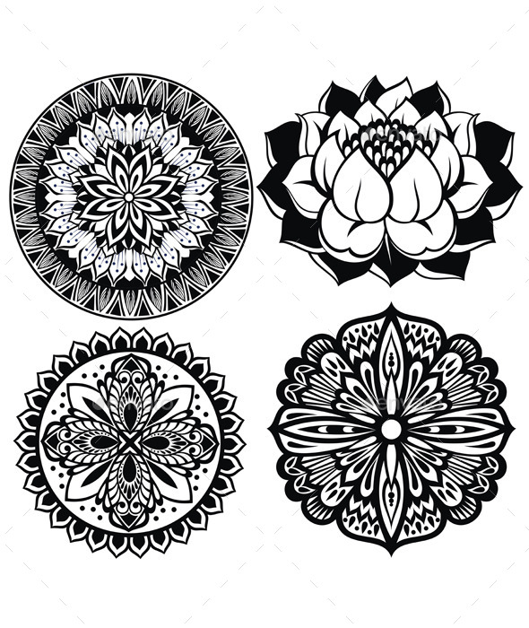 GraphicRiver Set of Mandalas Lotus Flower 11451153