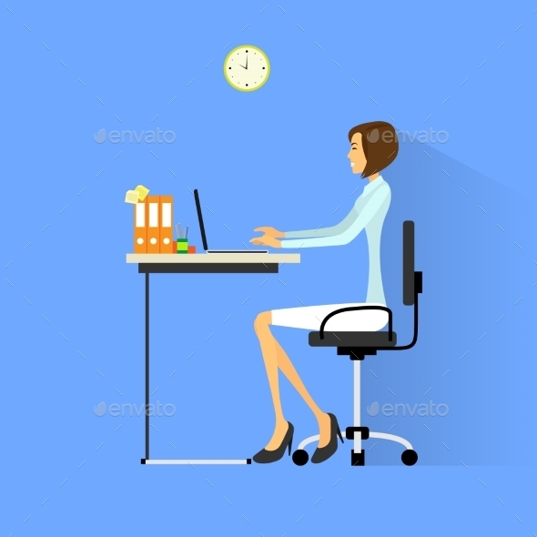 GraphicRiver Business Woman Sitting At Desk In Office Working 11451258