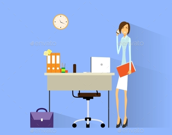 GraphicRiver Business Woman Cell Phone Call At Desk In Office 11451269