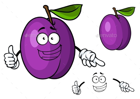 GraphicRiver Happy Purple Cartoon Plum Fruit Giving a Thumbs Up 11451270