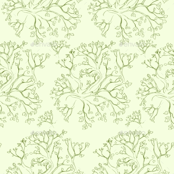 GraphicRiver Tree Branch Pattern Green Leaves Vector Seamless 11451300