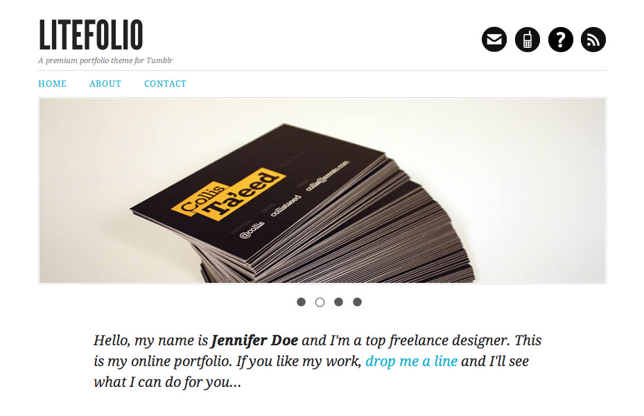Litefolio - portfolio theme for Tumblr - Home page