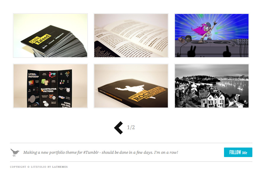 Litefolio - portfolio theme for Tumblr - Content and footer with photos, Twitter feed and copyright sections.