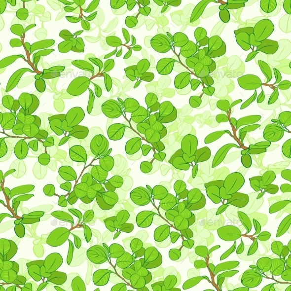GraphicRiver Seamless Green Tree Branch Leaves Floral Pattern 11451419