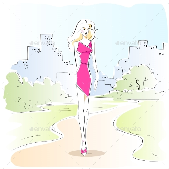 GraphicRiver Fashion Woman Sketch Pink Dress Outdoor Vector 11451938