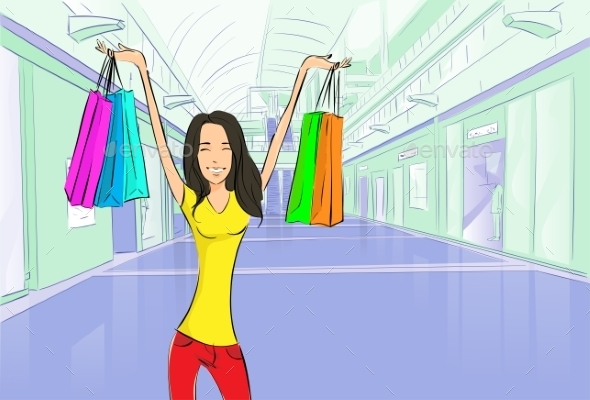 GraphicRiver Woman Shopping Bags Modern Luxury Shop Mall 11451948