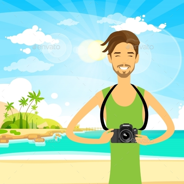 GraphicRiver Man Tourist With Photo Camera Summer Travel 11451962