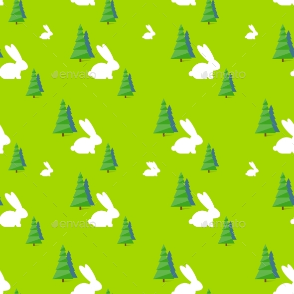 GraphicRiver Green Tree White Rabbit Pattern Vector 11451964
