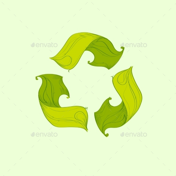 GraphicRiver Recycle Symbol Logo From Tree Green Flat Icon 11451974