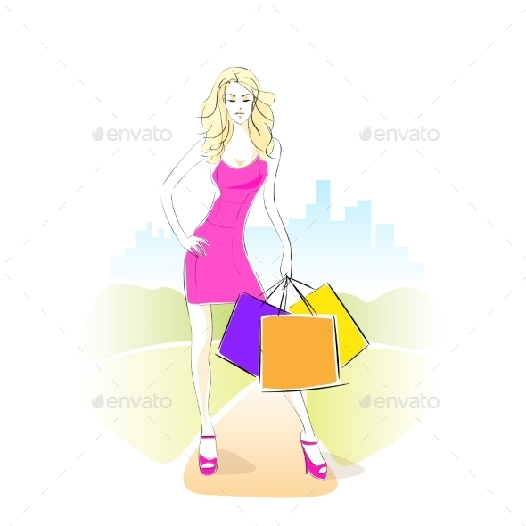 GraphicRiver Shopping Woman With Bags Wear Pink Dress Standing 11451994
