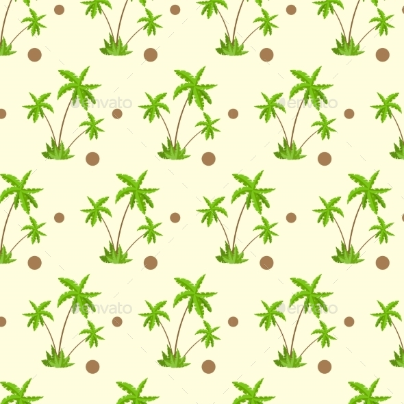 GraphicRiver Palm Tree With Coconut Pattern Over Yellow Sand 11452019