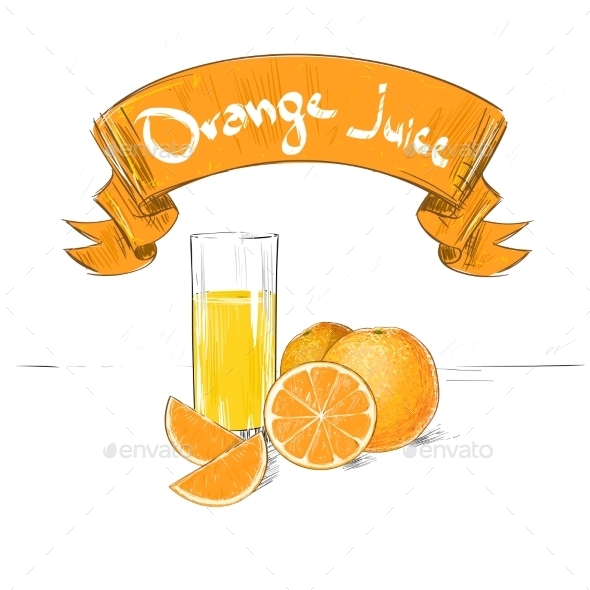 Orange Juice Banner Text Sign With Glass