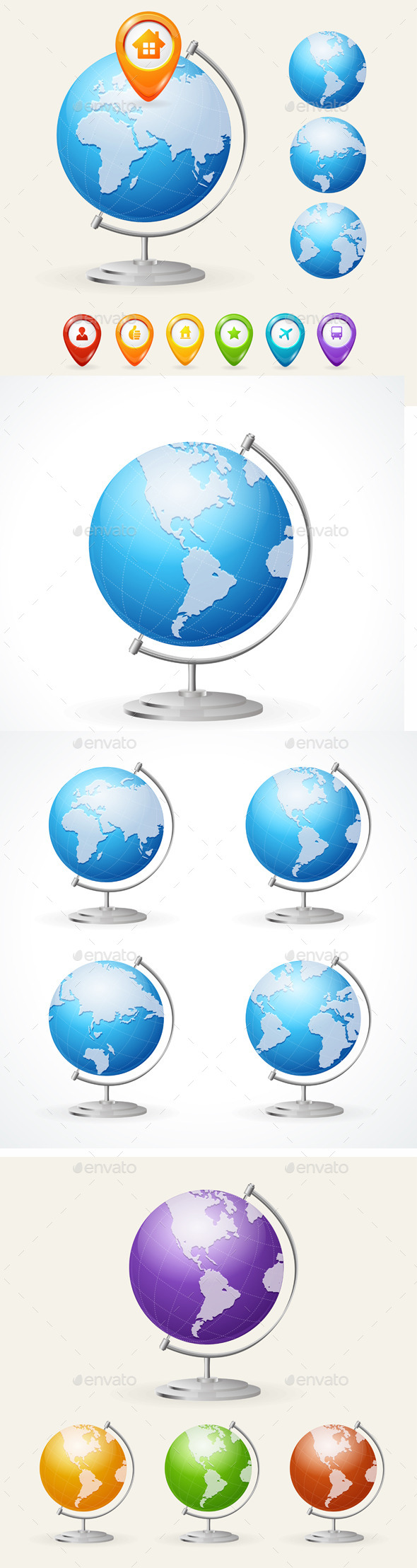 GraphicRiver Vector School Globe Set 11452040