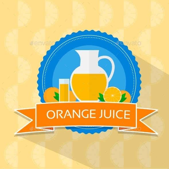Orange Juice Flat Design Banner Card