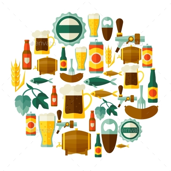 GraphicRiver Background Design With Beer Icons And Objects 11452070