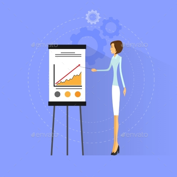 GraphicRiver Businesswoman Show Graph Flat Design Vector 11452114