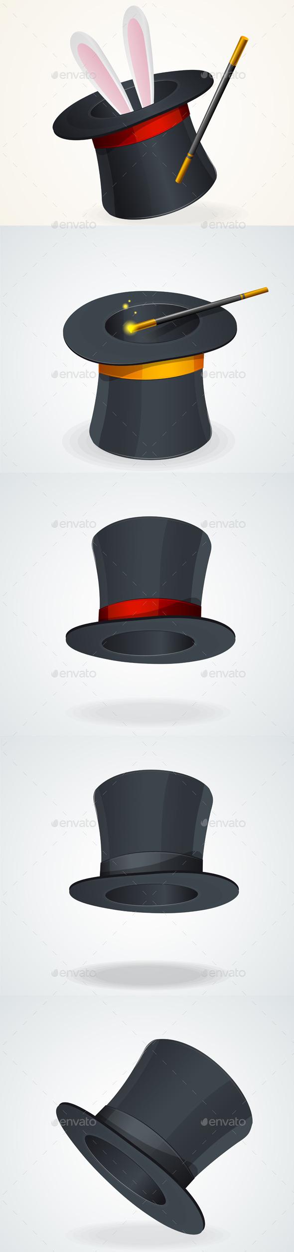 GraphicRiver Vector Black Top Hat Set 11452147