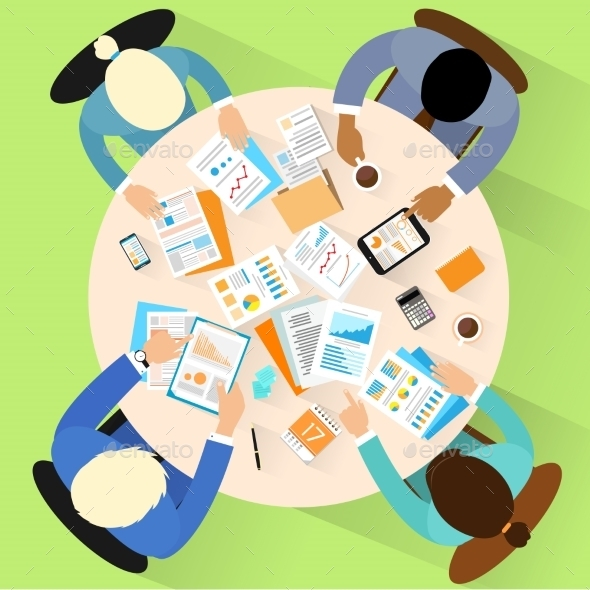 GraphicRiver Business People Workplace Top Angle View Sitting 11452148