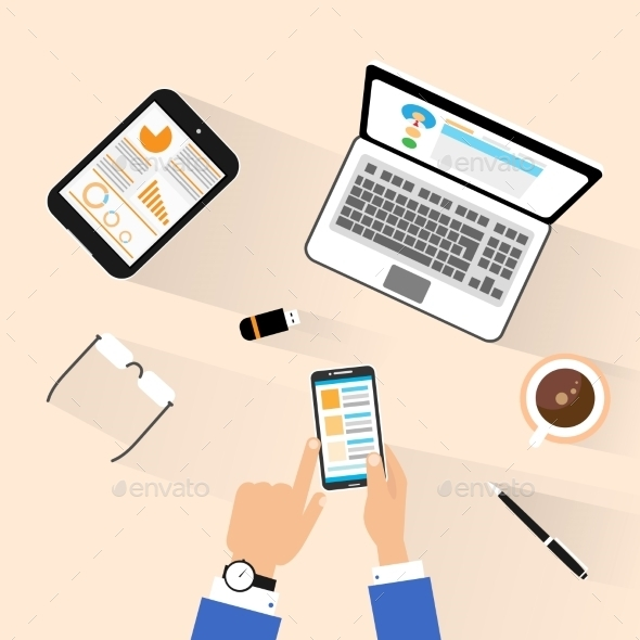 GraphicRiver Businessman Use Phone At Workplace Top View Desk 11452167