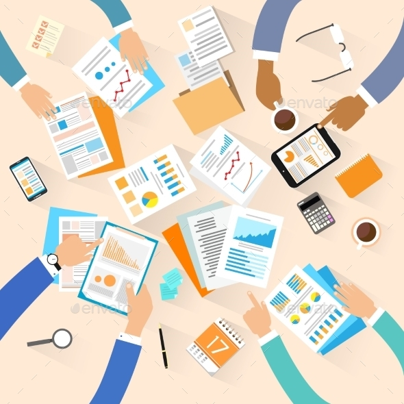 GraphicRiver Business People Workplace Top Angle View Creative 11452174