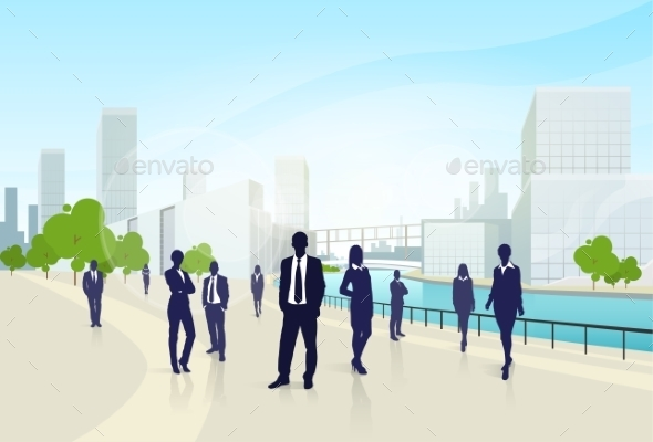 GraphicRiver Business People Group City Landscape Office 11452210