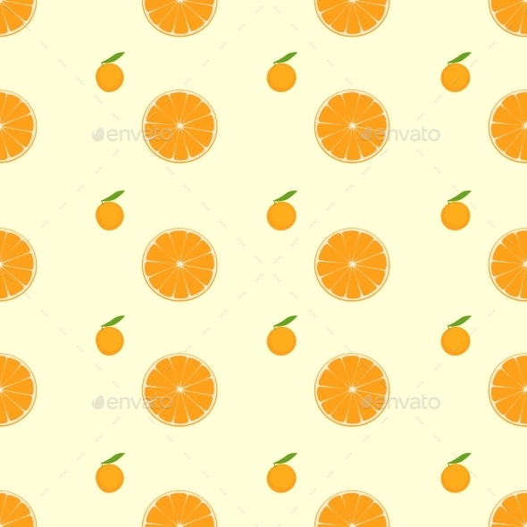 GraphicRiver Orange Citrus Fruit Slice Seamless Pattern Vector 11452215