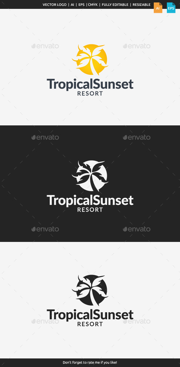 GraphicRiver Tropical Sunset Resort Logo 11452232