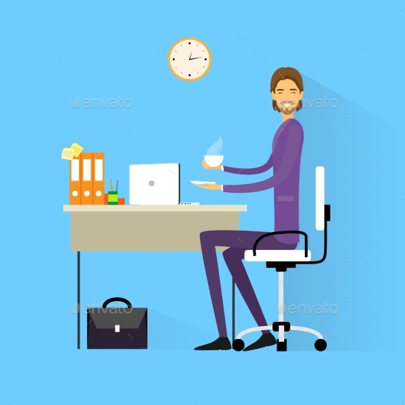 GraphicRiver Business Man Drink Coffee Sitting At Desk 11452257