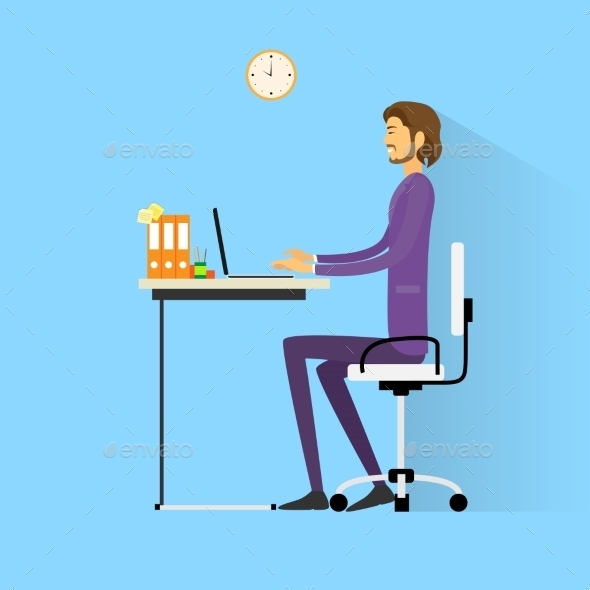 GraphicRiver Business Man Sitting At Desk In Office Working 11452268