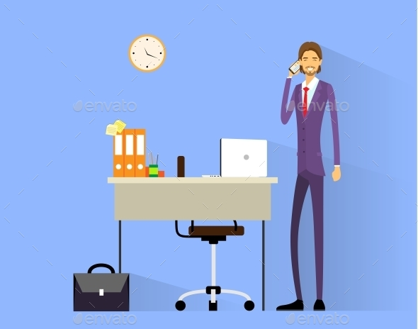 GraphicRiver Business Man Cell Phone Call At Desk In Office 11452280