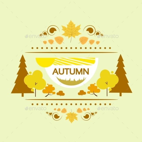 GraphicRiver Autumn Banner Flat Design Yellow Tree Vector 11452288