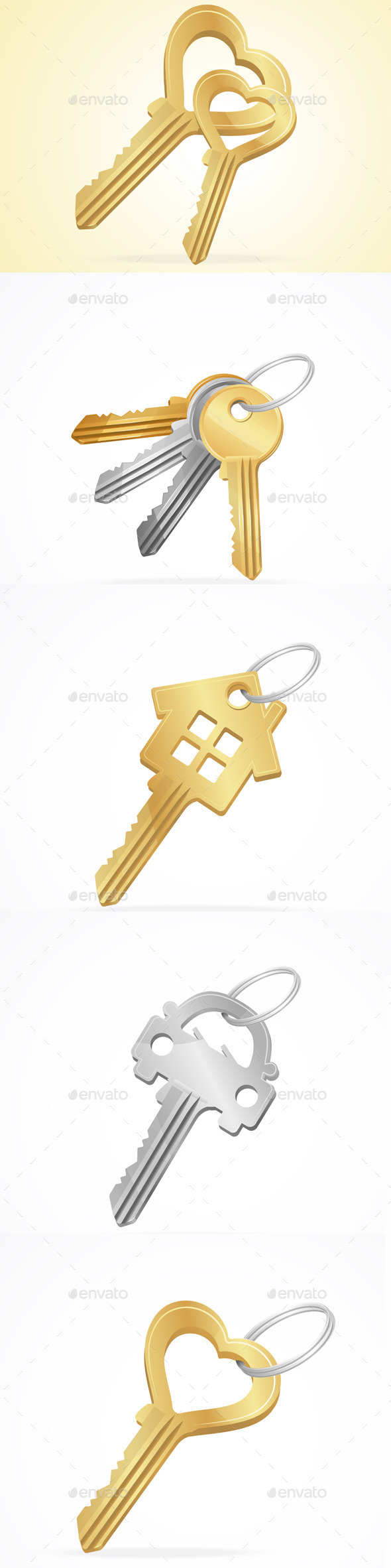 GraphicRiver Vector Golden Silver Bronze Metal Keys Set 11452323