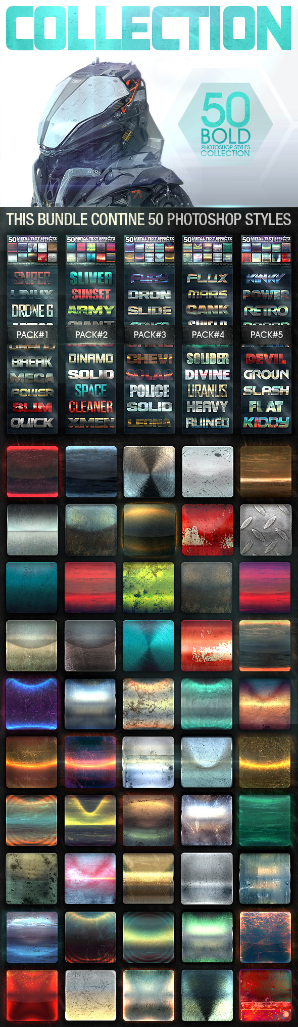 GraphicRiver 50 Metal Text Effects Bundle V3 11452419