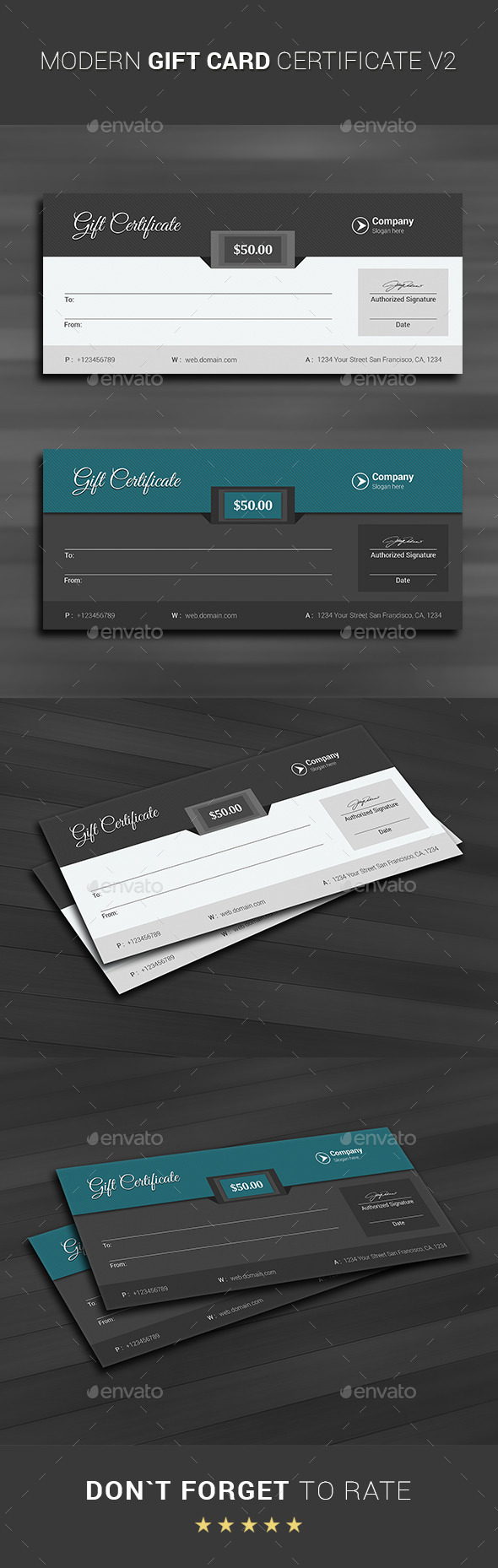 GraphicRiver Modern Gift Card Certificate v2 11452440