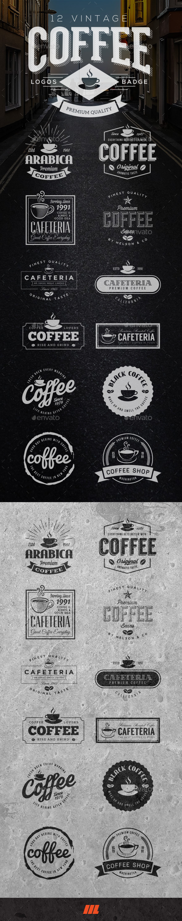 GraphicRiver 12 Retro Vintage Coffee Logo 11452453