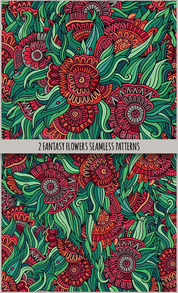 GraphicRiver 2 Floral Fantasy Seamless Pattern 11452457