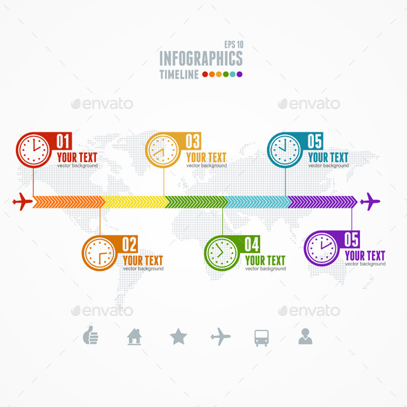 GraphicRiver Vector Timeline Infographic Map and Clock 11452469