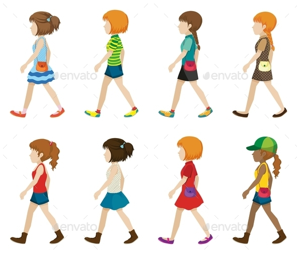 GraphicRiver Faceless Teenagers Walking 11452550