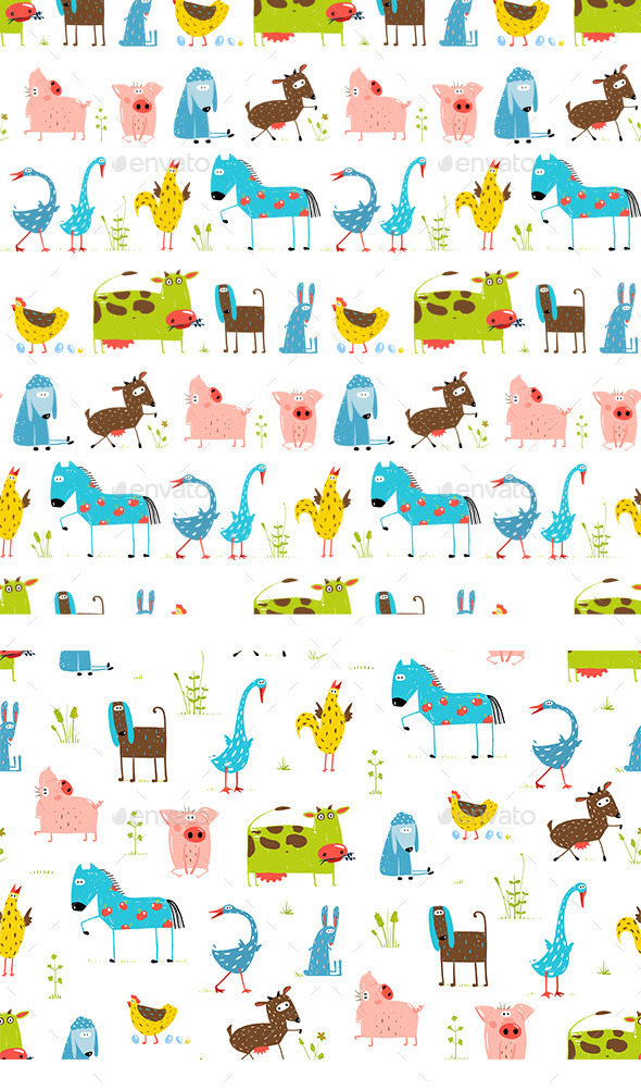 GraphicRiver Fun Cartoon Farm Animals Seamless Pattern 11452642