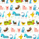 Fun Cartoon Farm Animals Seamless Pattern - GraphicRiver Item for Sale