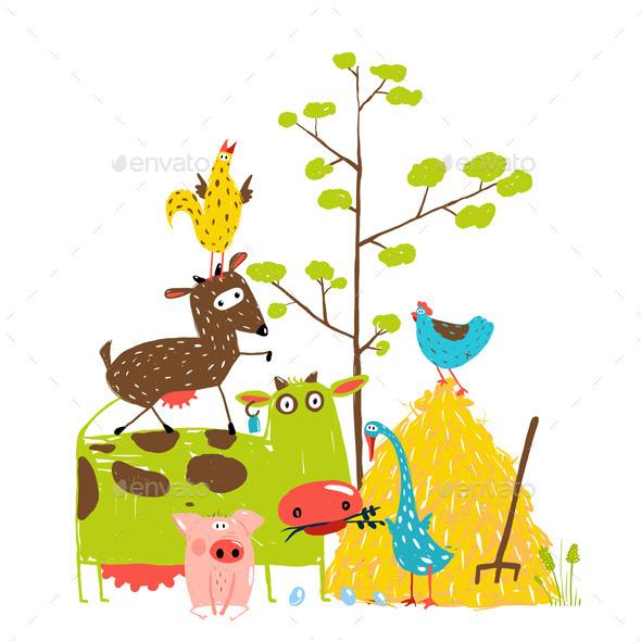 GraphicRiver Cartoon Farm Animals Composition Card 11452651