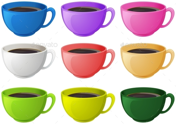 GraphicRiver Colourful Cups with Coffee 11452794