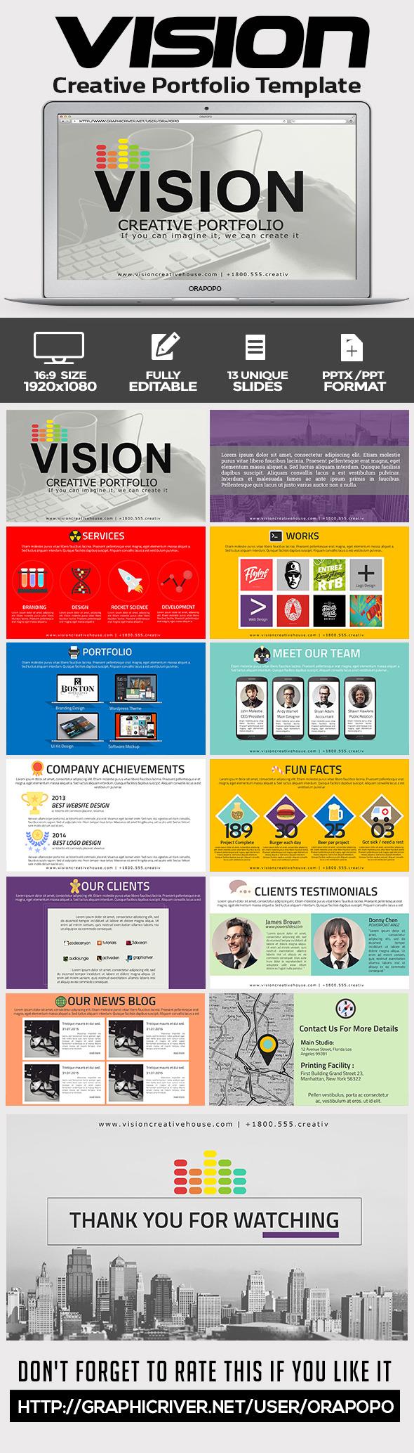 GraphicRiver Vision Creative Portfolio Template 11433926