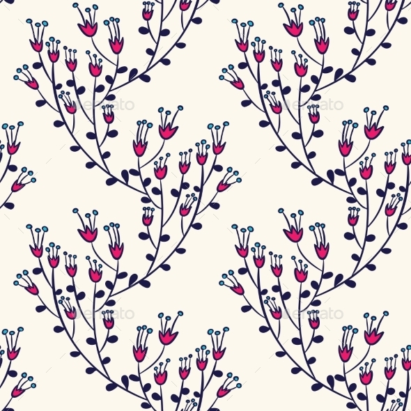 GraphicRiver Seamless Pattern With Doodle Flowers 11453138