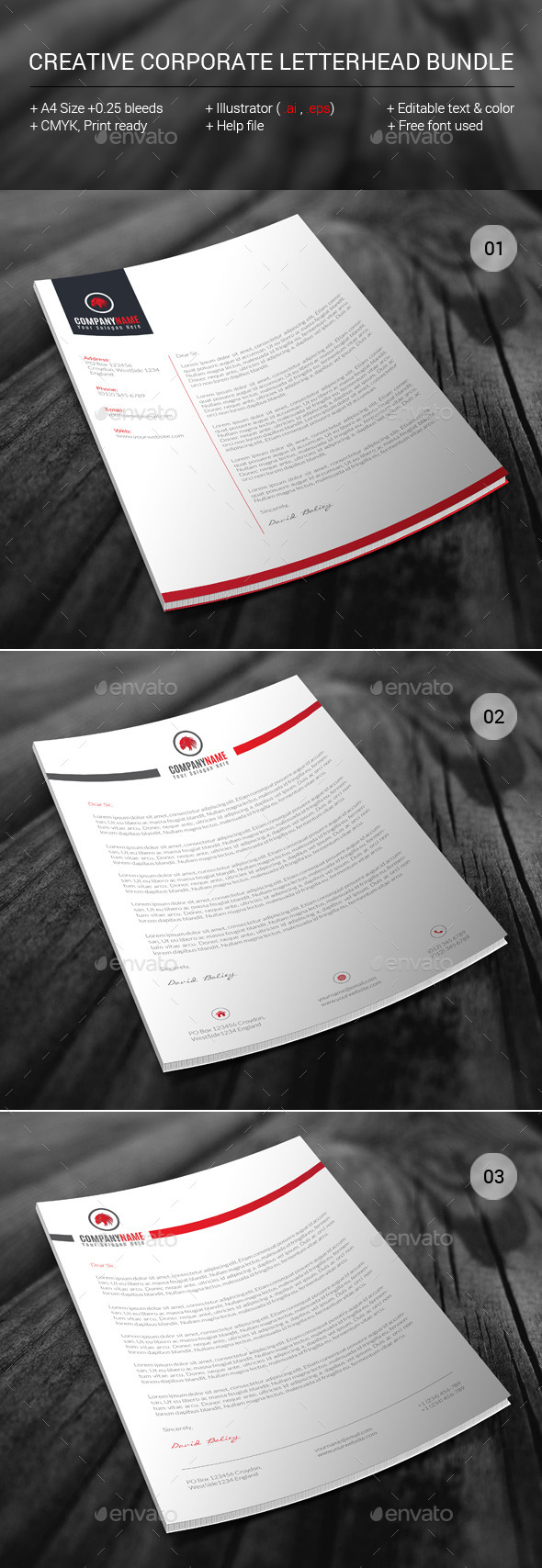 GraphicRiver Creative Corporate Letterhead Bundle 11453142