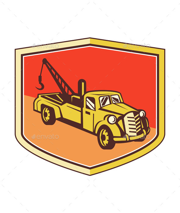 GraphicRiver Vintage Tow Truck Wrecker Shield Retro 11453152
