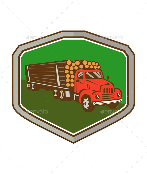 GraphicRiver Truck Vintage Logging Shield Retro 11453161