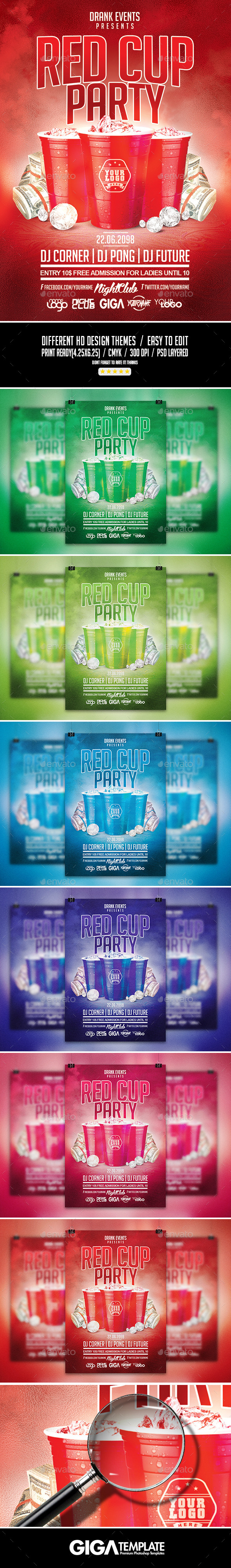 GraphicRiver Red Cup Party Summer Night PSD Flyer Template 11453180