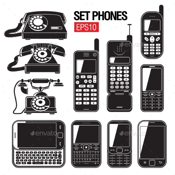 GraphicRiver Phone Set Modern And Old Telephone 11453249