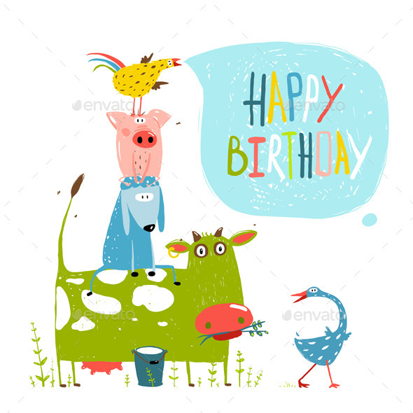 GraphicRiver Birthday Cartoon Farm Animals Greeting Card 11453276